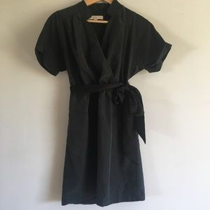 LOFT Black Faux Wrap Dress w/Tie Waist